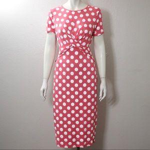 Asos Polka Dot Mid-Length Dress Pink Size Medium